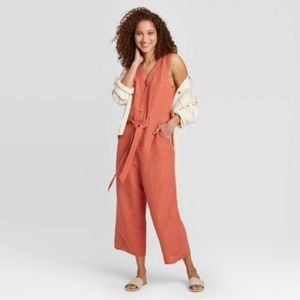 A New Day Red Coral Sleeveless Linen Jumpsuit
